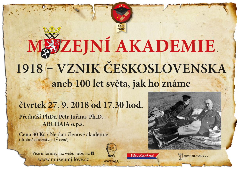 Muzejníakademie–1918VznikČeskoslovenska